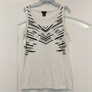 Ann Taylor white tank top with sequins and beads